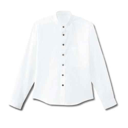 シャープなスタンドカラーシャツ(長袖・男女兼用)《052-08919》 (SS, 08 白)