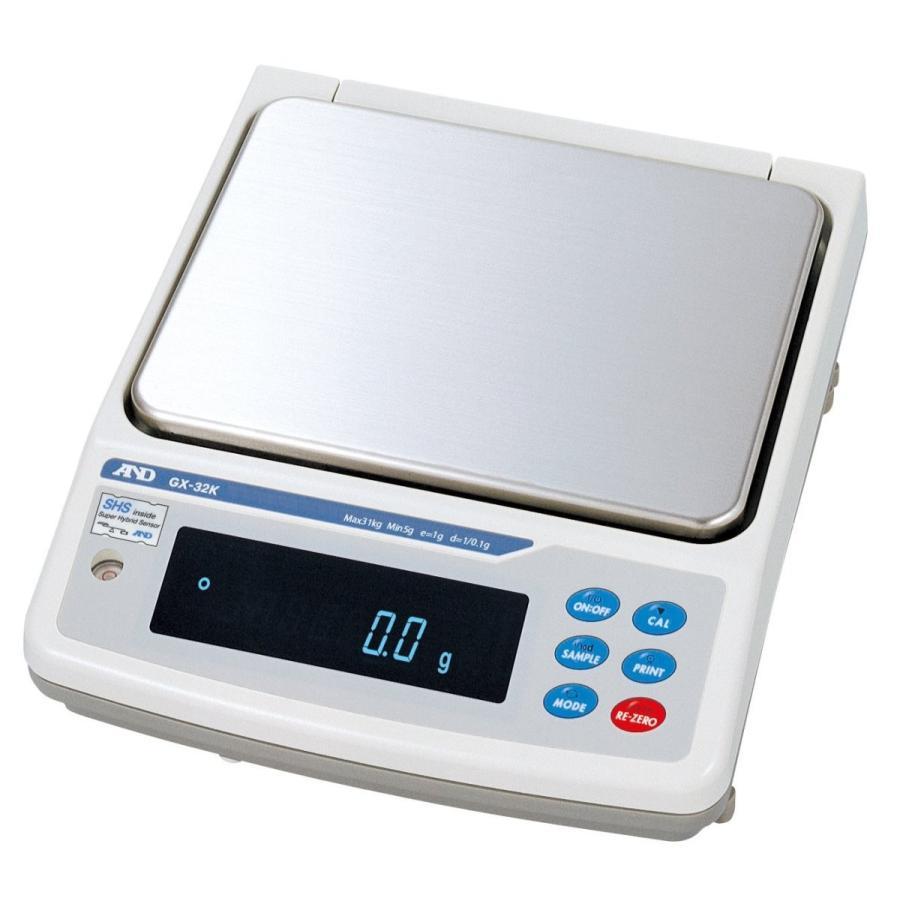 A&D 防塵・防水 校正用分銅内蔵中量級天びん GX-32K ひょう量:6100g/31kg 最小表示:0.1g/1g 皿寸法:270(W)