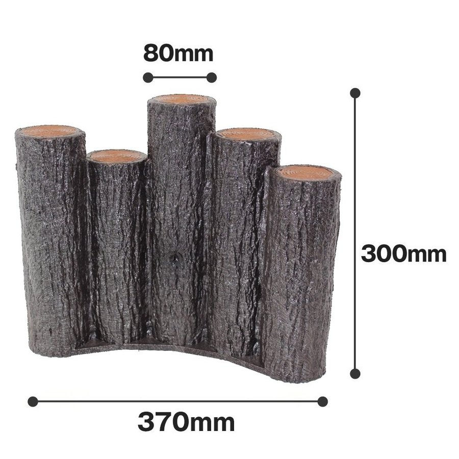 サンポリ 樹脂製擬木はなえ80φ 5連段違い杭アーチタイプ H300 (15本セット)