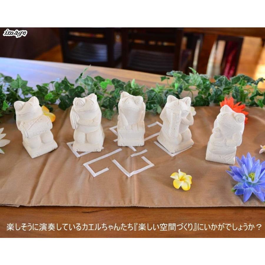 MANJA STO-0224 バリ 石彫り オブジェ カエルのガムラン隊 5体セット カエル 置物 エクステリア オーナメント ガーデニング