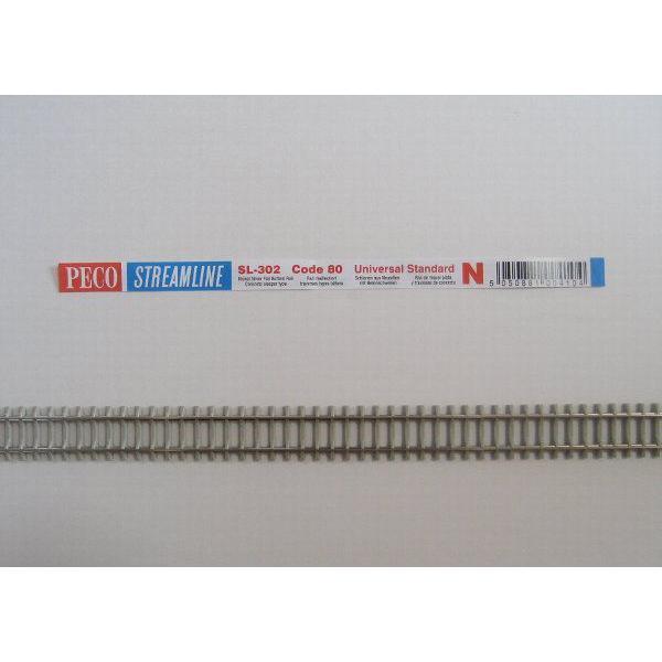PECO SL-302 Nゲージ (9mm) フレキシブルレール (PC枕木) コード80 (5本組)