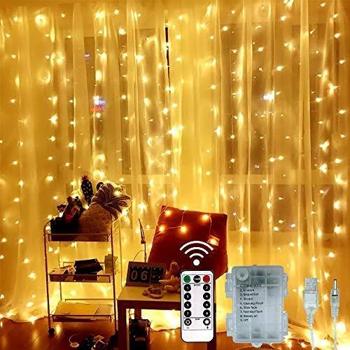SYTUAMイルミネーションライト300LED電球3M*3M, カーテンライト屋内屋外使用可能 ガーデンライト IP44防水,8つのスイッチモードリモ