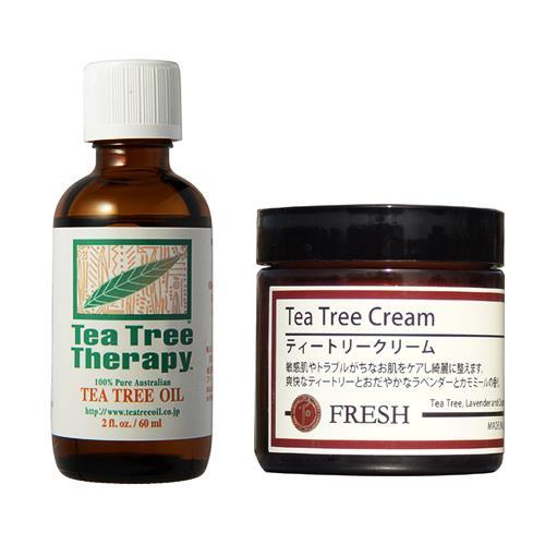 ティートリークリームと精油ティーツリーオイル60mlのセット tea tree cream natures