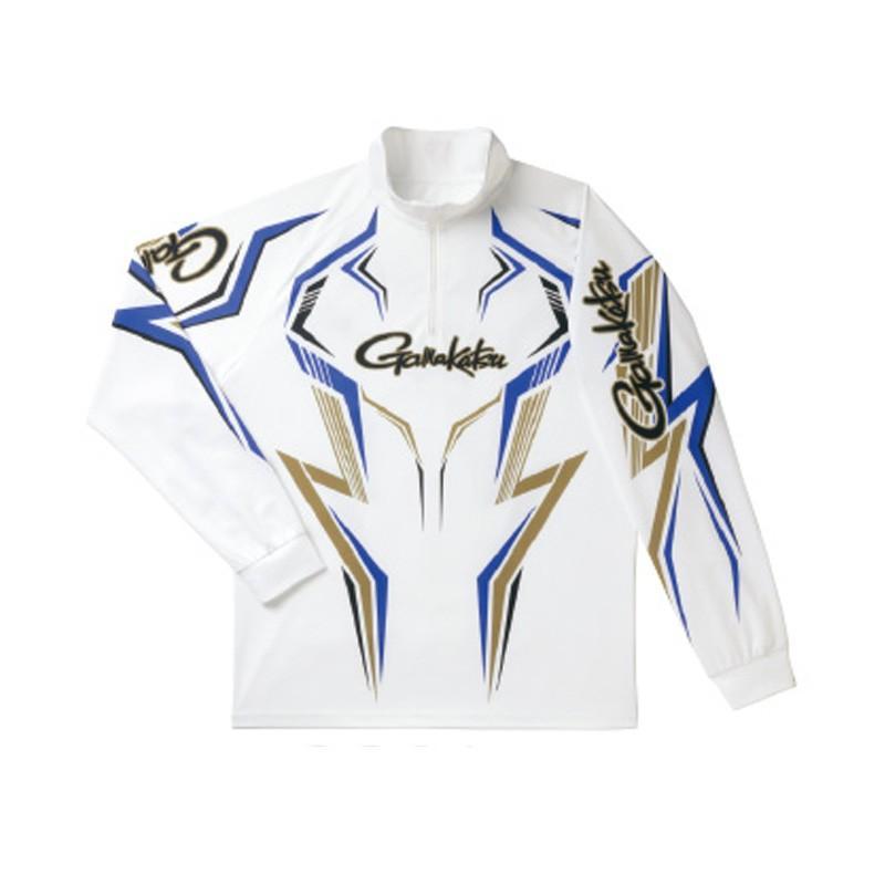 フィッシングウェア がまかつ 2WAYプリントジップシャツ(長袖) GM-3540 LL ホワイト×ブルー