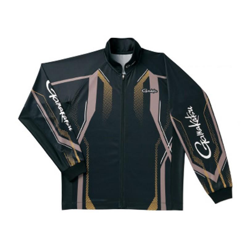フィッシングウェア がまかつ フルジップトーナメントシャツ GM-3569 LL ブラック×ゴールド