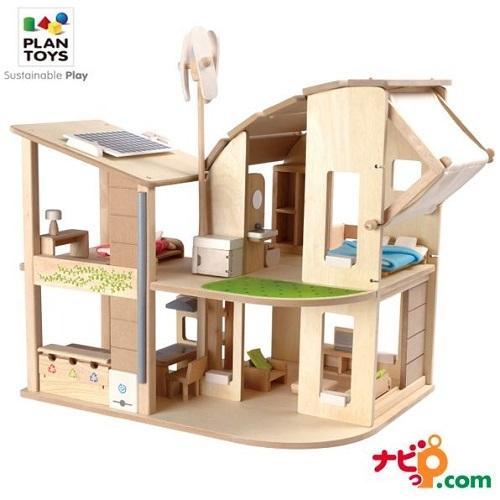 プラントイ PLANTOYS 家具付きグリーンドールハウス 7156 木のおもちゃ 知育玩具 ドールハウス 家具 おうち ごっこあそび ままごと ギフト 木製玩具|navi-p-com-online
