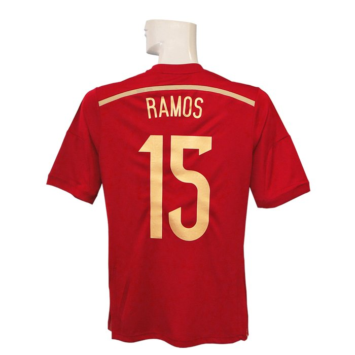 (アディダス) adidas/14/15スペイン代表/ホーム/半袖/セルヒオ・ラモス/ワールドカップバッジ付/フルマーキング仕様/AD712-G85279