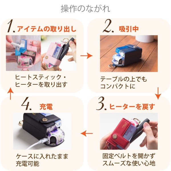 iqos3 duo ケース アイコス3 デュオ ケース 新型 カバー ブランド iqos3duo レザー 電子たばこ SMOKE EASY FLEUR|ndos|05