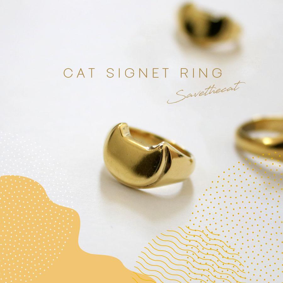 CAT SIGNET RING 真鍮キャットシグネットリング【kura】|neco-republic