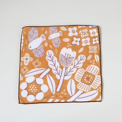 ハンカチ MARTTA  タオルハンカチ Garden オレンジ花 母の日 2021 プレゼント ギフト おしゃれ かわいい|neco