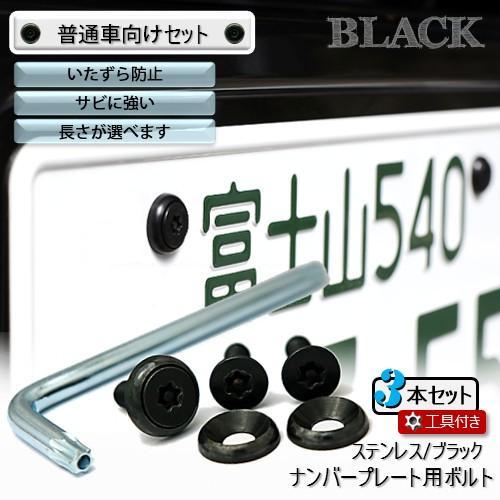 ナンバープレート用ボルト ピン 定番スタイル トルクスサラ ステンレス 大人気! 工具付セット 3本 ブラック