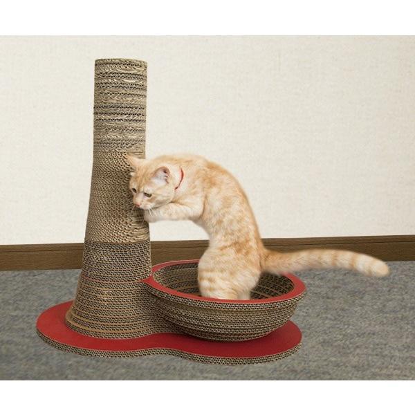ニャンダフル・爪とぎ 「ポール&ボウル」 / 猫用 ファニチャー 爪とぎ ECOでおしゃれなデザインのこだわり品 日本製ダンボール|nekodan