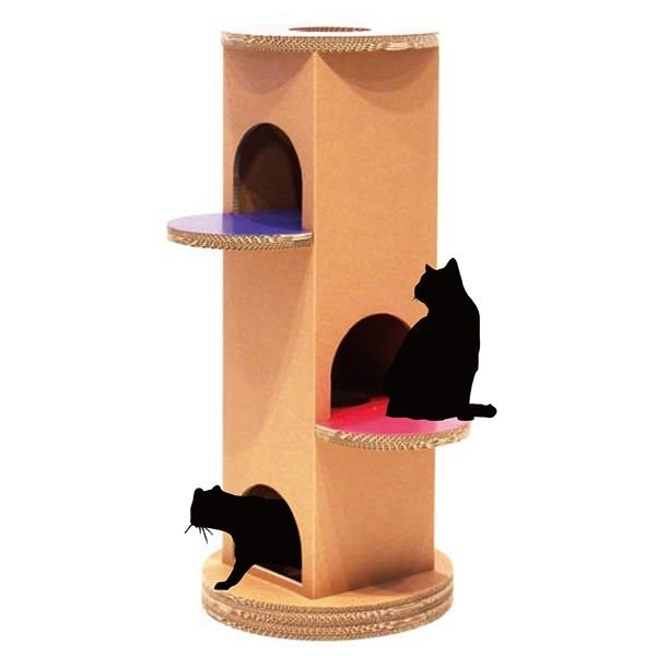 ニャンダフル・キャットタワー 「ベーシック」 据え置き型 / 猫用 キャットタワー ECOでおしゃれなデザイン 日本製ダンボール|nekodan