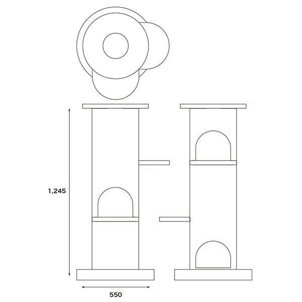 ニャンダフル・キャットタワー 「ベーシック」 据え置き型 / 猫用 キャットタワー ECOでおしゃれなデザイン 日本製ダンボール|nekodan|03