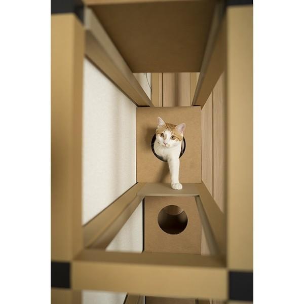 ニャンダフルシェルフ / 猫用 突っ張り型キャットタワー ECO おしゃれデザイン 日本製 ダンボール製|nekodan|05