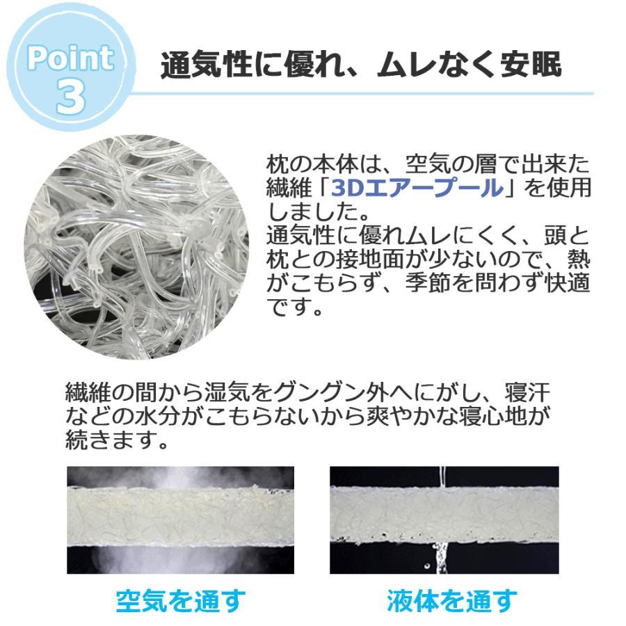 高反発 枕 3Dエアープール まくら 洗える 消臭 抗菌 防カビ 枕カバー 付き|nemurichi|04