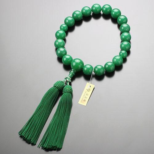 数珠 男性用 18玉 極上 印度翡翠 正絹房 数珠袋付き|nenjyu|04