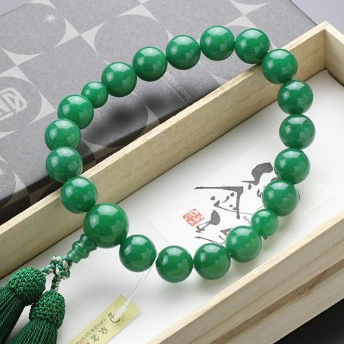 数珠 男性用 18玉 極上 印度翡翠 正絹房 数珠袋付き|nenjyu|05