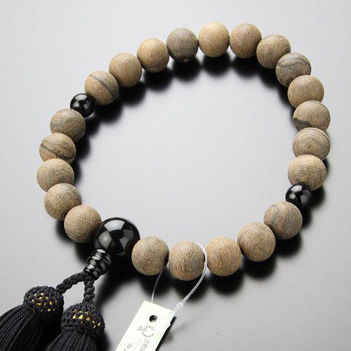 数珠 男性用 22玉 シャム柿 オニキス 正絹房 数珠袋付き nenjyu