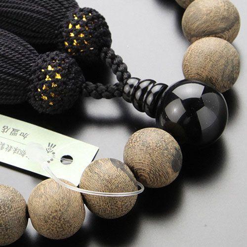 数珠 男性用 22玉 シャム柿 オニキス 正絹房 数珠袋付き nenjyu 02