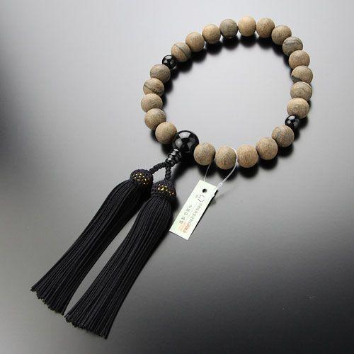 数珠 男性用 22玉 シャム柿 オニキス 正絹房 数珠袋付き nenjyu 04