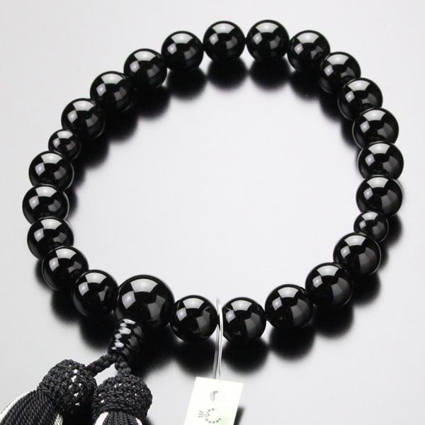 ◇限定Special Price 数珠 男性用 SALE開催中 22玉 正絹2色房 黒オニキス 数珠袋付き