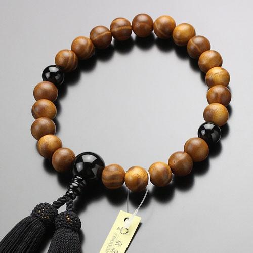 数珠 男性用 22玉 本桑 オニキス 正絹房 数珠袋付き|nenjyu