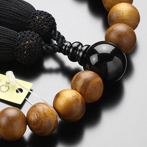 数珠 男性用 22玉 本桑 オニキス 正絹房 数珠袋付き|nenjyu|02