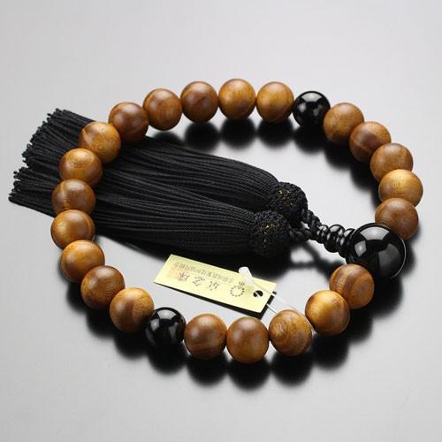 数珠 男性用 22玉 本桑 オニキス 正絹房 数珠袋付き|nenjyu|03