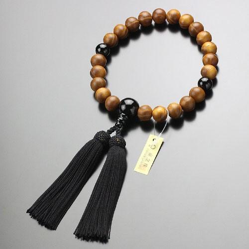 数珠 男性用 22玉 本桑 オニキス 正絹房 数珠袋付き|nenjyu|04