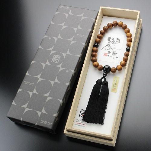 数珠 男性用 22玉 本桑 オニキス 正絹房 数珠袋付き|nenjyu|05