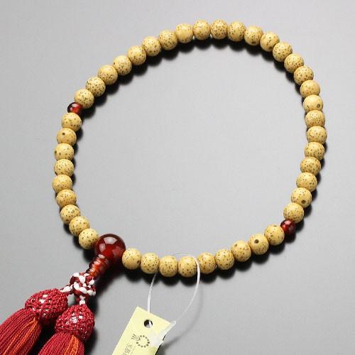 数珠 女性用 約6.5ミリ 星月菩提樹 瑪瑙 正絹頭付松風房 数珠袋付き|nenjyu
