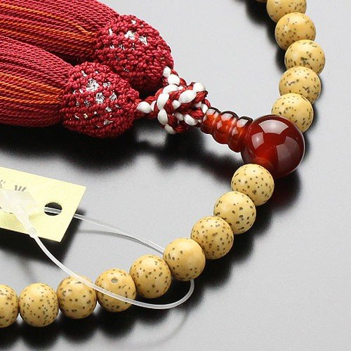 数珠 女性用 約6.5ミリ 星月菩提樹 瑪瑙 正絹頭付松風房 数珠袋付き|nenjyu|02