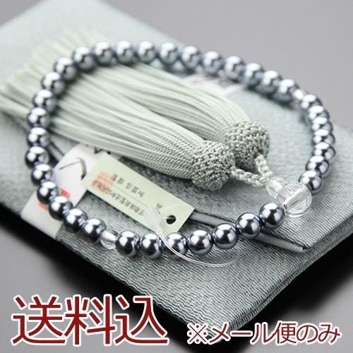 新品未使用 数珠 女性用 黒貝パール 灰色 頭付房 数珠袋付き マート