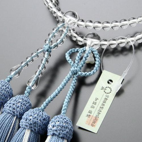 浄土真宗 数珠 女性用 8寸 本水晶 正絹房(浅葱房) 本式数珠 数珠袋付き|nenjyu|03