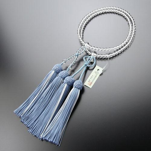 浄土真宗 数珠 女性用 8寸 本水晶 正絹房(浅葱房) 本式数珠 数珠袋付き|nenjyu|04