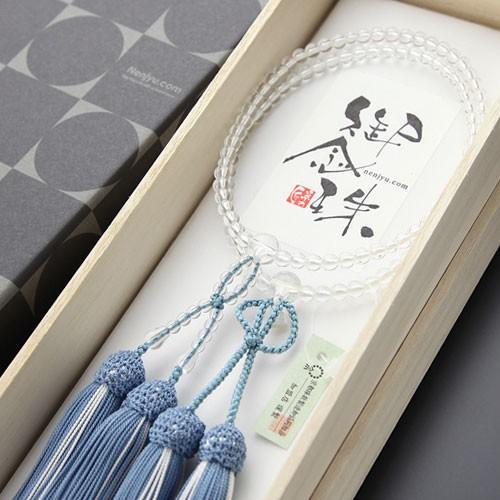 浄土真宗 数珠 女性用 8寸 本水晶 正絹房(浅葱房) 本式数珠 数珠袋付き|nenjyu|05