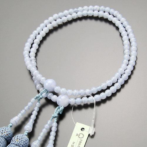 八宗派兼用 数珠 女性用 8寸 ブルーレース 正絹房 数珠袋付き|nenjyu