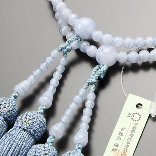 八宗派兼用 数珠 女性用 8寸 ブルーレース 正絹房 数珠袋付き|nenjyu|02