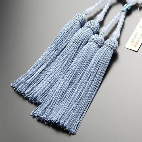 八宗派兼用 数珠 女性用 8寸 ブルーレース 正絹房 数珠袋付き|nenjyu|04
