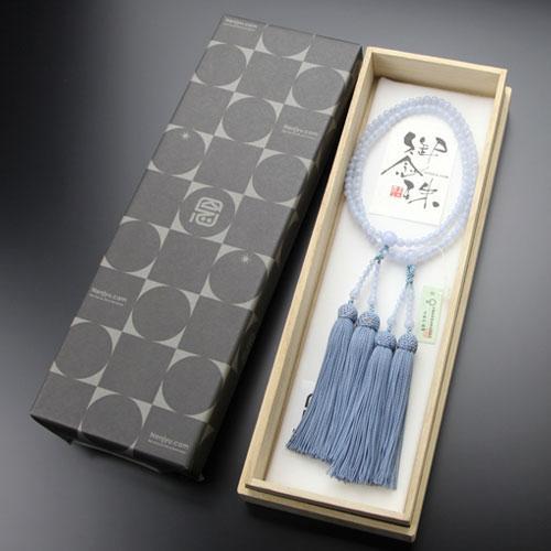 八宗派兼用 数珠 女性用 8寸 ブルーレース 正絹房 数珠袋付き|nenjyu|05