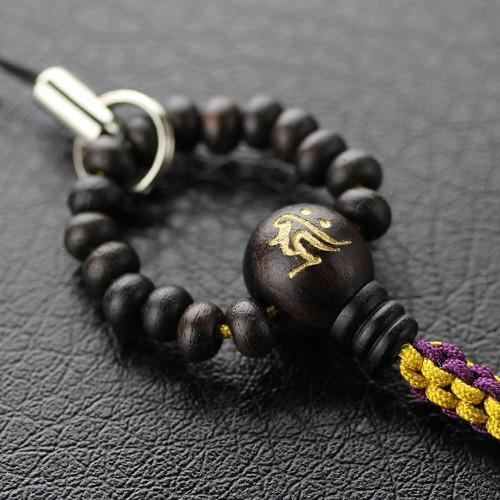ストラップ 数珠タイプ 天然木 選べる梵字 高額売筋 マート 縞黒檀