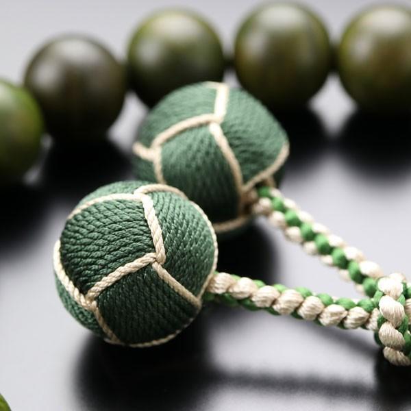 数珠 男性用 18玉 生命樹(緑檀) 2天 ビルマ翡翠 2色梵天房 数珠袋付き nenjyu 05