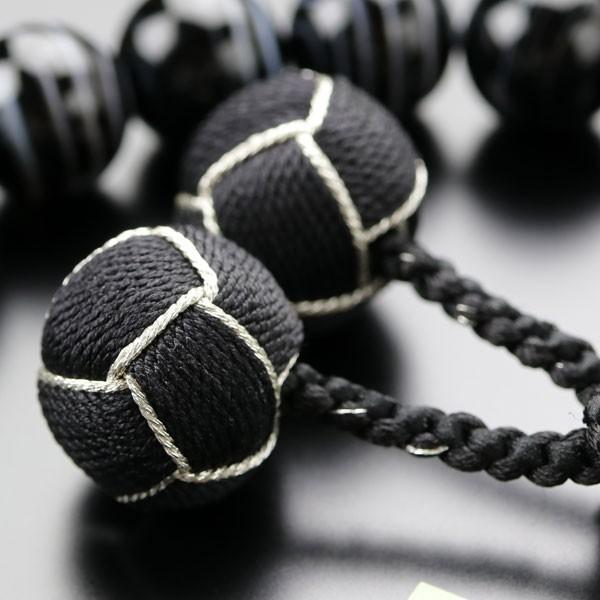 数珠 男性用 18玉 黒縞瑪瑙 2色梵天房 数珠袋付き nenjyu 05