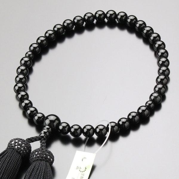 数珠 豪華な 女性用 約7ミリ 黒オニキス 数珠袋付き 単色 正絹房 スピード対応 全国送料無料
