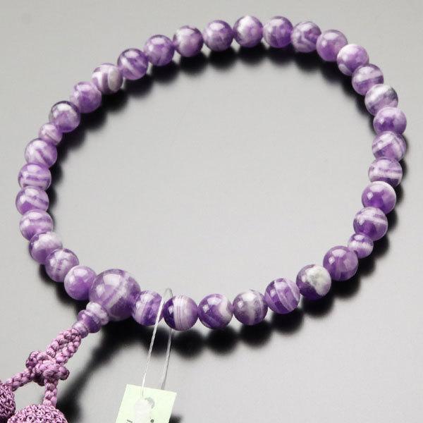 絶品 数珠 女性用 約8ミリ 石英 正絹房 数珠袋付き 国内在庫 アメジスト