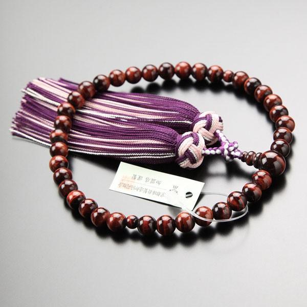数珠 女性用 約7ミリ 赤虎目石 銀花かがり房 略式数珠 数珠袋付き nenjyu 03