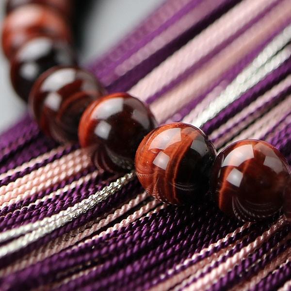 数珠 女性用 約7ミリ 赤虎目石 銀花かがり房 略式数珠 数珠袋付き nenjyu 04