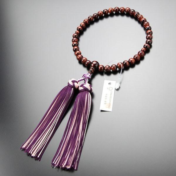 数珠 女性用 約7ミリ 赤虎目石 銀花かがり房 略式数珠 数珠袋付き nenjyu 05