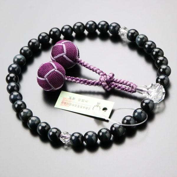 数珠 女性用 約8ミリ 青虎目石 カット水晶 2色梵天房 数珠袋付き|nenjyu|02